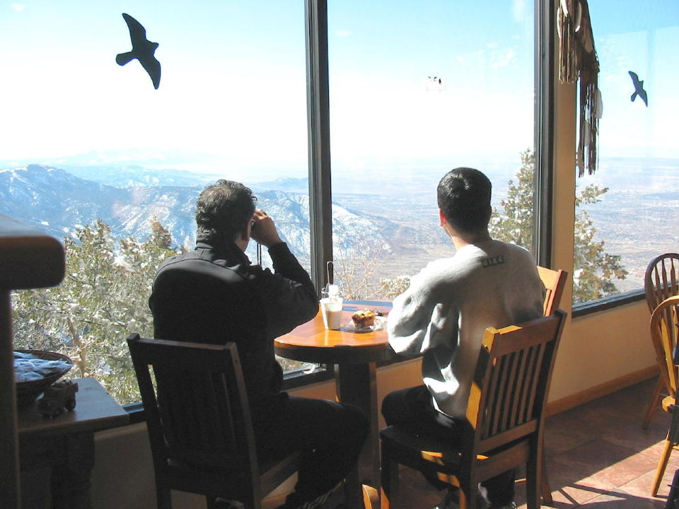 Two Men Viewing Rosy-finches